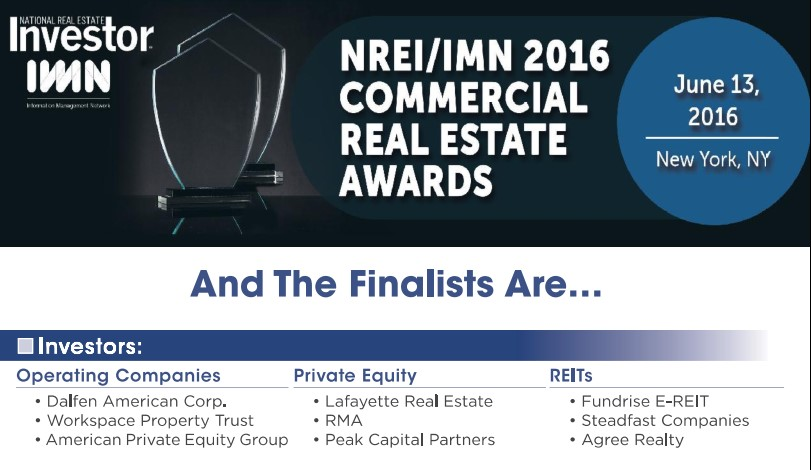 Dalfen America Corp Named a 2016 Top Investor Operating Company Award Finalist by NREI